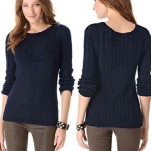 Rachel Zoe navy blue stretch open knit sweater